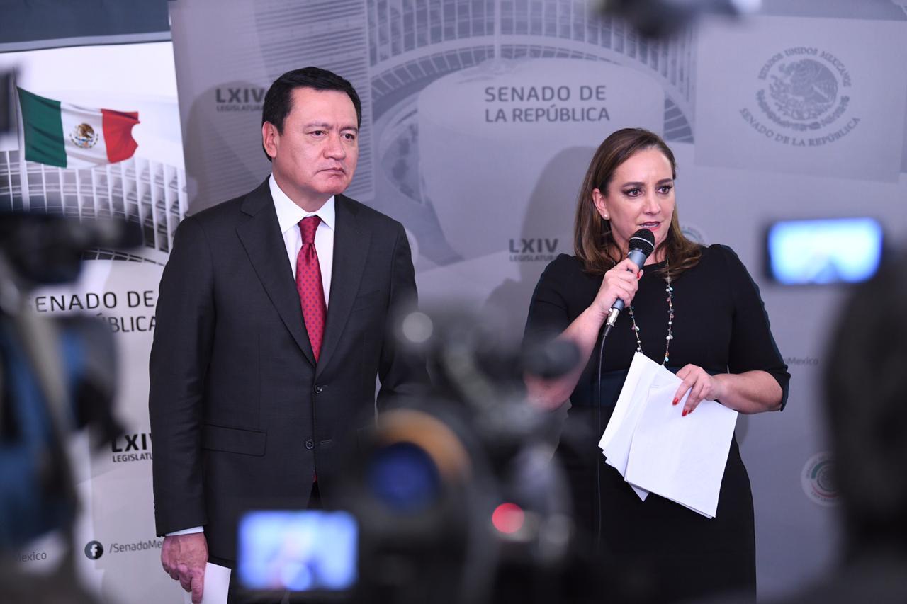 CONFERENCIA DE PRENSA CONJUNTA DE LA PRESIDENTA DEL CEN DEL PRI, CLAUDIA RUIZ MASSIEU Y MIGUEL ÁNGEL OSORIO CHONG, COORDINADOR DEL GRUPO PARLAMENTARIO DEL PRI EN EL SENADO.