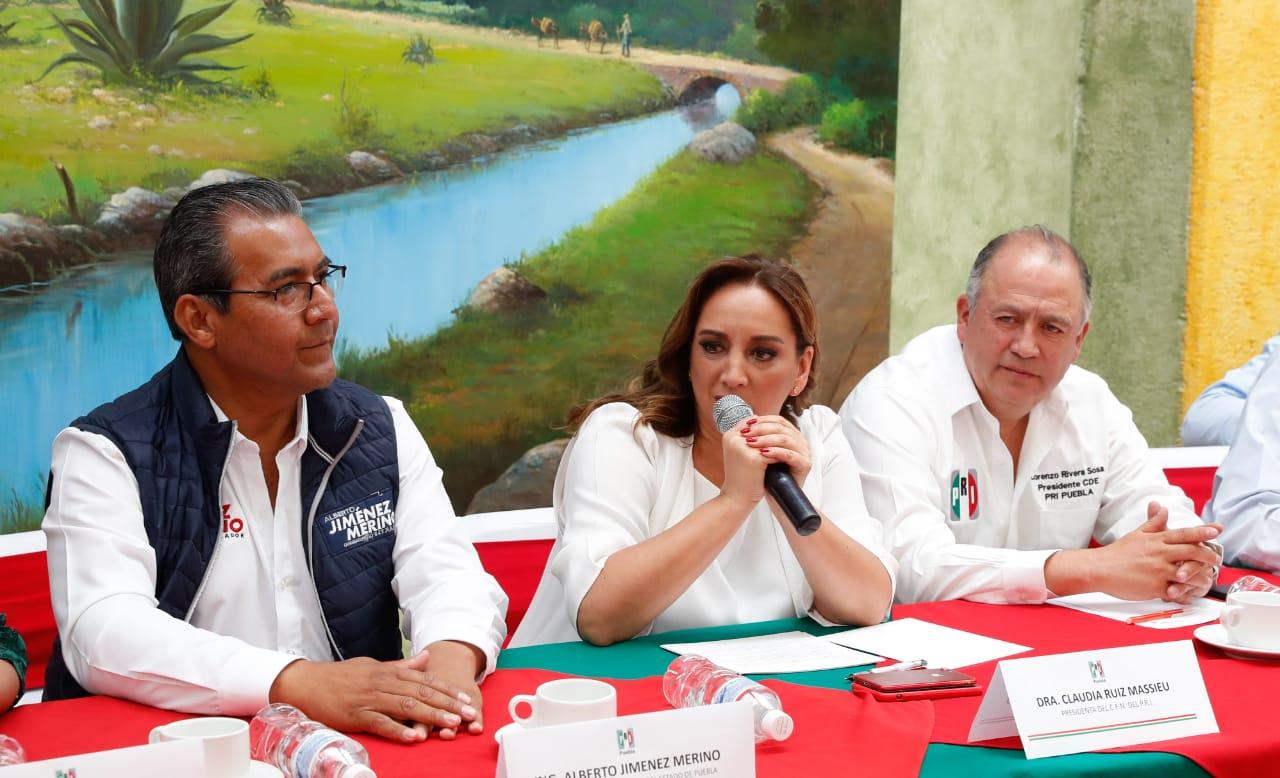 CONFERENCIA DE PRENSA DE CLAUDIA RUIZ MASSIEU Y JIMÉNEZ MERINO, CANDIDATO PRIISTA A LA GUBERNATURA DE PUEBLA.