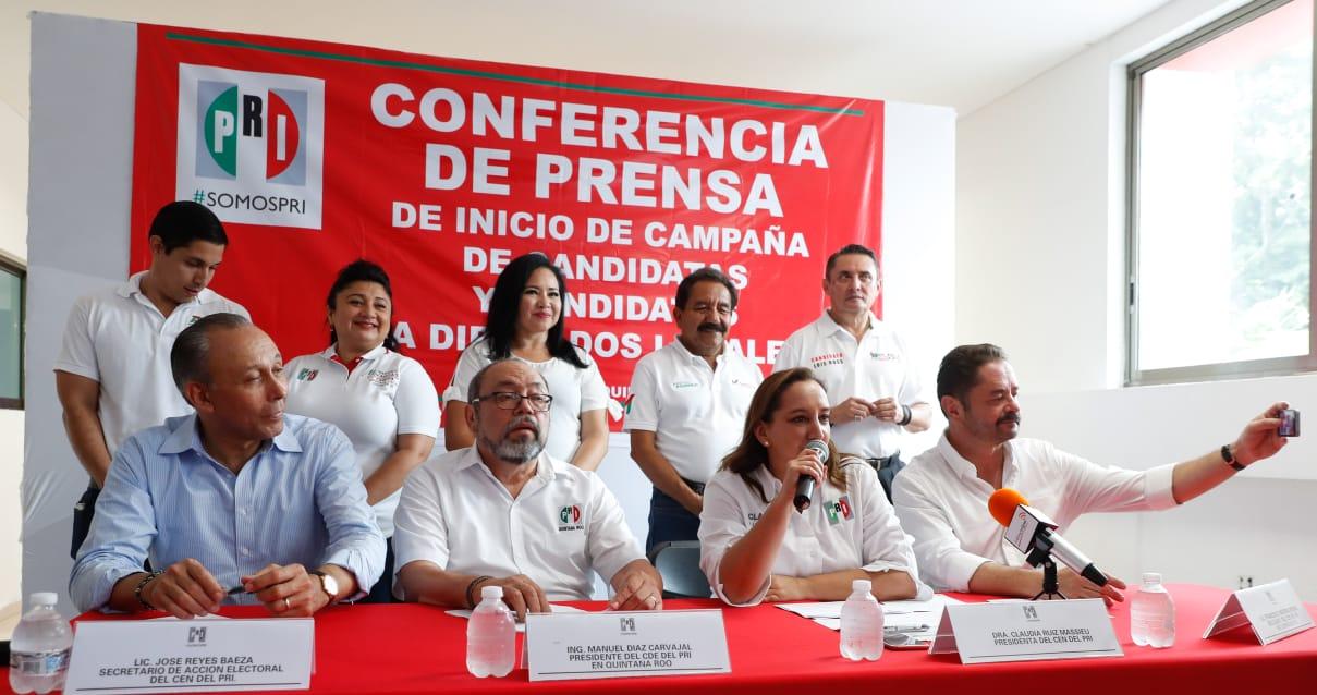 CONFERENCIA DE PRENSA PREVIA AL ARRANQUE DE CAMPAÑA DE CANDIDATAS Y CANDIDATOS DEL PRI AL CONGRESO DE QUINTANA ROO.