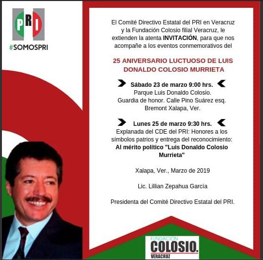 ESTE SÁBADO, 25 ANIVERSARIO LUCTUOSO DE LUIS DONALDO COLOSIO.