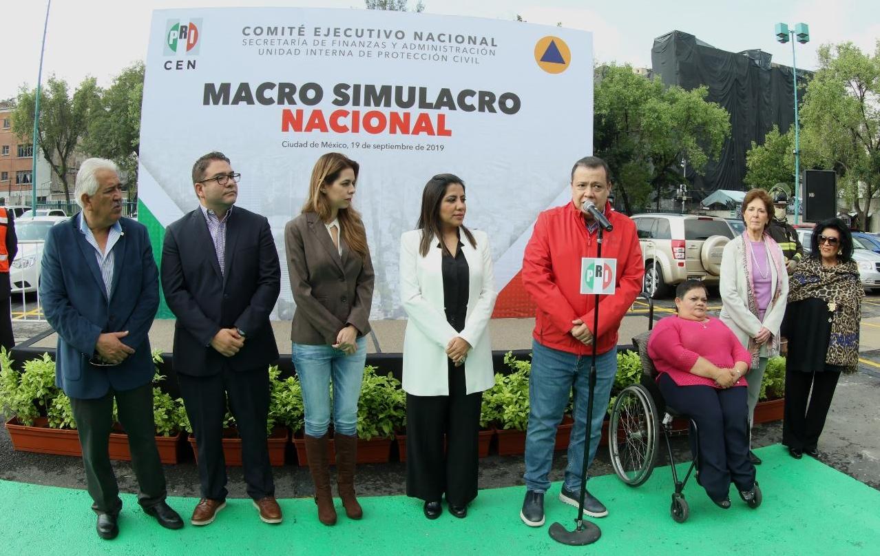 REALIZA EL PRI EXITOSO EJERCICIO DE PROTECCIÓN CIVIL DEL MACROSIMULACRO 2019