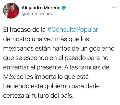 CONSULTA POPULAR SIRVIÓ PARA QUE MEXICANOS MANIFESTARAN SU RECHAZO A LA INEPTITUD E INCAPACIDAD DEL GOBIERNO DE MORENA: