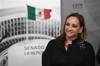 Conferencia de prensa de los senadores Claudia Ruiz Massieu, Miguel Ángel Osorio Chong y Manuel Añorve Baños