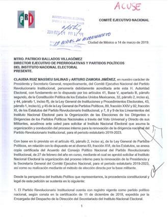 PRI solicita formalmente al INE organizar el proceso de renovación de su dirigencia nacional.