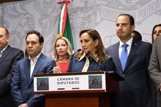 CLAUDIA RUIZ MASSIEU EN CONFERENCIA DE PRENSA CONJUNTA, PREVIO AL ANÁLISIS Y DISCUSIÓN SOBRE LA REFORMA ELECTORAL.
