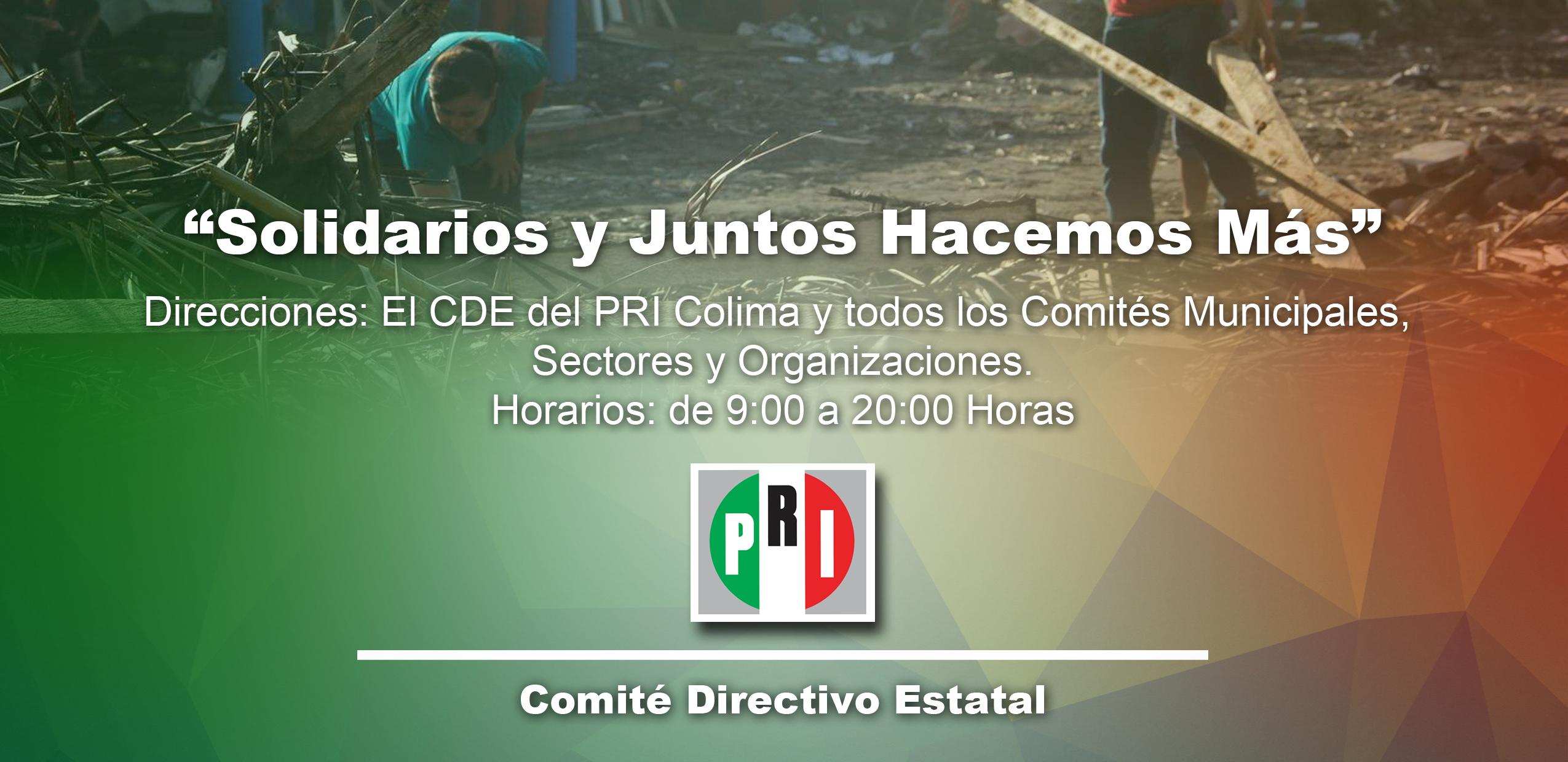 """COMITÉ DIRECTIVO ESTATAL DE COLIMA INSTALA CENTRO DE ACOPIO PARA APOYAR A LAS PERSONAS AFECTADAS POR EL HURACÁN """"PATRICIA"""""""