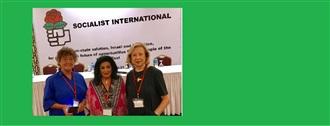 Subsecretaria y Vicepresidenta mundial de la Internacional Socialista, Elsa Espinosa  en reunión en Ramallah, Palestina width=