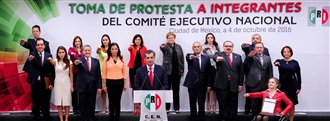 Protesta a nuevos integrantes del Comité Ejecutivo Nacional del PRI. width=