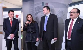CONFERENCIA DE PRENSA DE CLAUDIA RUIZ MASSIEU Y MIGUEL ÁNGEL OSORIO CHONG EN LA SALA DE PRENSA DE LA CÁMARA ALTA.