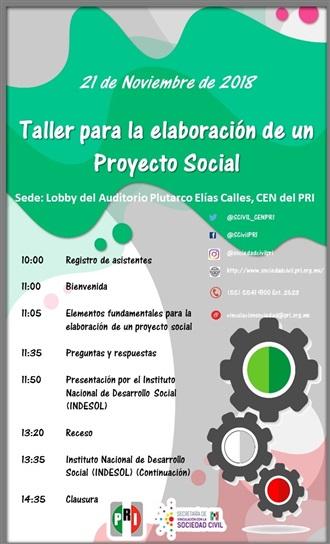 TEMARIO TALLER PARA LA ELABORACIÓN DE UN PROYECTO SOCIAL